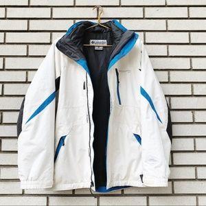 Columbia White Blue Interchange 3 In 1 Ski Jacket